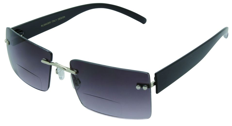 Baltimore Rimless Bifocal Sunglasses in Smoke - World of ...